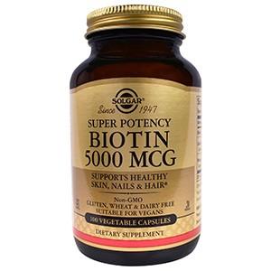 Solgar, Биотин, 5000 мкг, 100 вегетарианских капсул