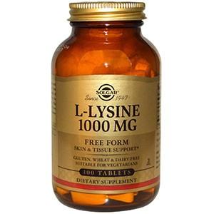 Solgar, L-лизин, 1000 мг, 100 таблеток