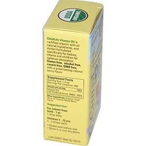 ChildLife, Капли с органическим витамином D3, природный ягодный вкус, 400 МЕ, 10 мл