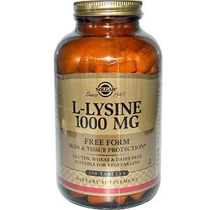 Solgar, L-лизин, свободная форма, 1000 мг, 250 таблеток