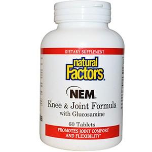 Natural Factors, Состав для колен и суставов - NEM с глюкозамином