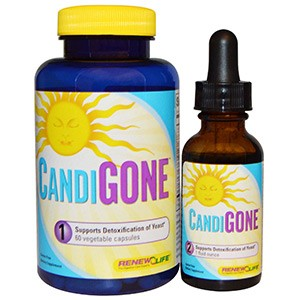 Renew Life, CandiGone, мощная программа очищения от грибков, 60 капсул