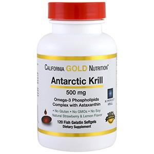 California Gold Nutrition, Жир арктического криля, с астаксантином, RIMFROST, натуральный клубничный и лимонный вкус
