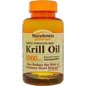 Sundown Naturals, Жир красного криля тройной крепости, 1000 мг, 60 мягких желатиновых капсул с быстрым высвобождением
