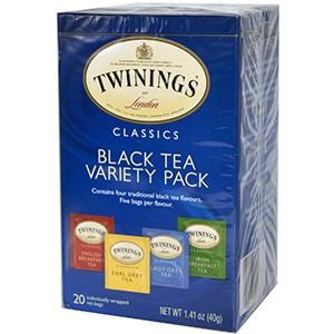 Twinings, Классический черный чай, 20 чайных пакетиков с разными вкусами