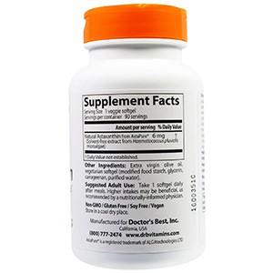 Doctor's Best, Астаксантин с AstaPure, 6 мг, 90 вегетарианских таблеток в мягкой оболочке