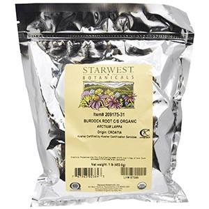 Starwest Botanicals, Натуральный корень лопуха, измельченный и просеянный