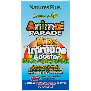 Nature's Plus, Источник жизни, Жевательные таблетки для детей для защиты иммунитета со вкусом тропических ягод