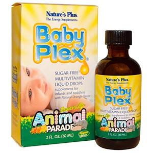 Nature's Plus, Source of Life, Animal Parade, Baby Plex, жидкие мультивитаминные капли без сахара