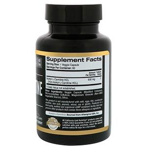 California Gold Nutrition, Спорт, ацетил-L-карнитин, 500 мг