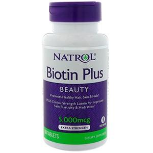 Natrol, Biotin Plus, красота, дополнительная сила с лютеином, 5000 мкг